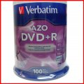 100 Pk New Verbatim 16x DVD+R Media Disk 4.7GB 120MIN Blank Recordable DVD 95102 Free Shipping